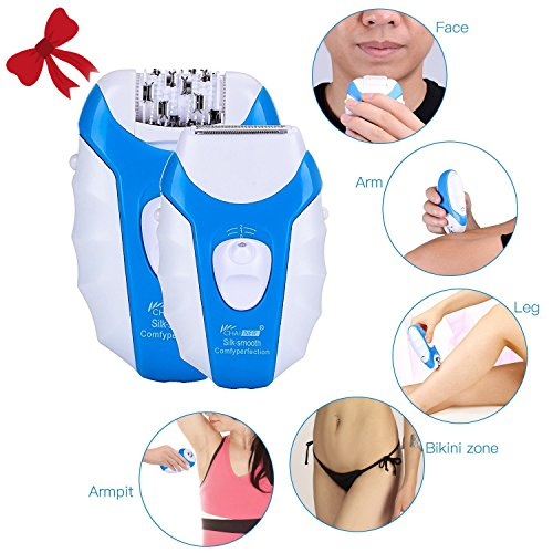 Hair Epilator for Women Man CHAINER 5 in 1 Rechargeable Hair Removal Kit Electric Cordless Lady Shaver Bikini Trimmer Wet and Dry with 5 Extra Heads for Feet and Hair Care