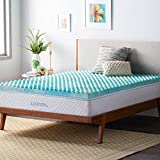 Linenspa 3 Inch Convoluted Gel Swirl Memory Foam Mattress Topper - Promotes Airflow - Relieves Pressure Points - Full