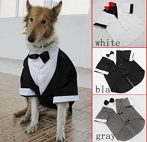 Big Dog Tuxedo Formal Wedding Party Pet Clothes with Bowtie Tails Suit  Large Dogs Costumes for Bulldogs Golden Retriever - Wedding