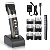 Hair Clippers Cordless Hair Trimmer Grooming Kit Professional Haircut,3 Adjustable speeds,Electric And Rechargeable with Charging base & 6 Guide combs for Adults, Men, Kids and Babies