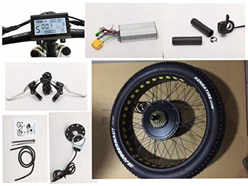 "NBPower 26"" x 4.0 48V 1500W Electric Bicycle Fat bike kit, 1500W Fat E-bike Conversion Kit with 1500W Hub Motor,Multifunction LCD Display, and KENDA Tire."