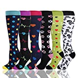 HLTPRO Compression Socks for Women & Men - 1 to 6 Pairs 20-30 mmHg Medical Support Knee High Compression Stockings for Travel, Running, Nurse, Shin Splints, Maternity