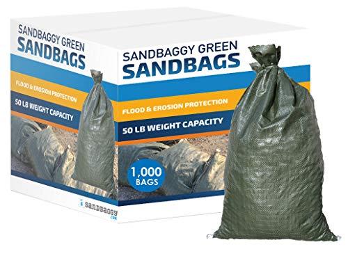 Sandbaggy - Empty Poly Sandbags W/UV Protection - Size: 14' x 26' - Color: Green - Military Grade (1,000 Bags)