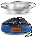 Stainless Steel Plate Set - 8.5 inch Ultra-Portable Dinnerware Set of 6 Round BPA Free Plates for Outdoor Camping | Hiking | Picnic | BBQ | Beach