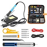 Tabiger Soldering Iron Kit 15-in-1, 60W Soldering Iron with Adjustable Temperature, Soldering Gun, 5pcs Soldering Iron Tips, Solder Wire, Desoldering Pump, Tweezer, Soldering Stand, Tool Case