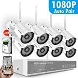 1080P Security Camera System Wireless,Safevant 8CH 1080P Wireless Security Camera System(2TB Hard Drive),8PCS 1080P(2.0MP) Inddor/Outdoor IP66 Wireless Security Cameras,Plug&Play,NO Monthly Fee