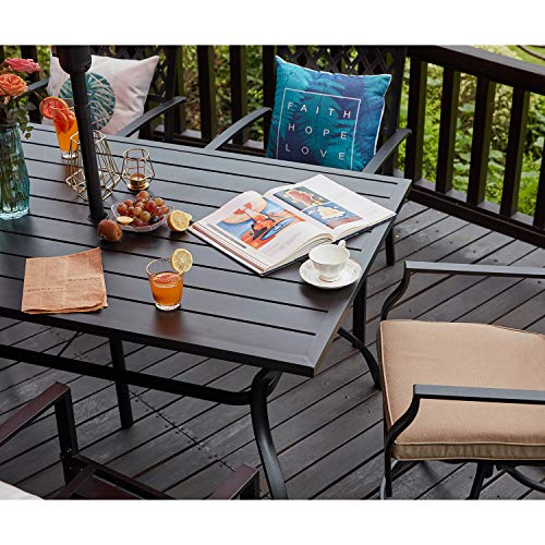 Vicllax Patio Dining Table Outdoor, Outdoor Patio Table And Chairs With Umbrella Hole
