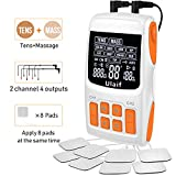 TENS Unit Muscle Stimulator Pulse Massager Combination, Ulaif Best Professional Portable 18 Modes Electronic Pulse Massager, Pain Relief, 2-4 Channels Output, 8 Long Life Pads FDA Cleared