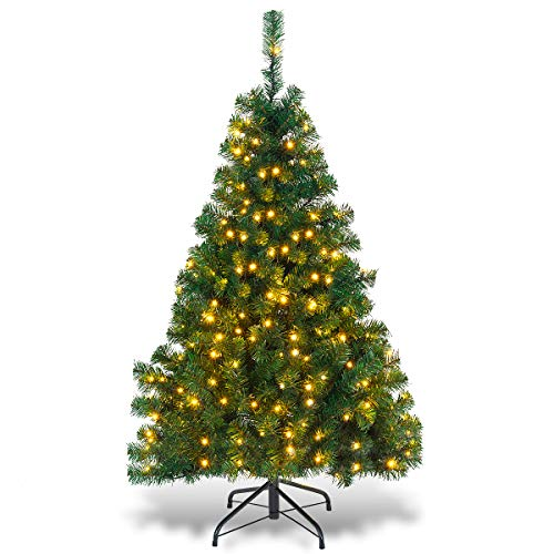 Goplus Artificial Christmas Tree Premium Spruce Hinged Tree with LED Lights and Solid Metal Stand, UL-Certified Transformer (4.5ft, 398 Branch Tips, 200 Lights)