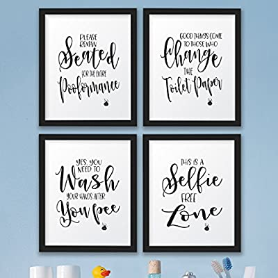 The John Funny Bathroom Wall Decor Signs Quotes Set Art Prints Amazon Co Uk Kitchen Home