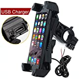 Leepiya Motorcycle Phone Mount with Charger 5V 2.4A USB Port Install on Handlebar/Mirror Bar, Cell Phone Holder Suit for iPhone XR Xs Max Xs X 8 7 6 Plus, Galaxy S9 S8 Plus and All 3.5 to 6.5' Phone