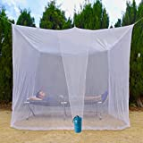 EVEN NATURALS Luxury Mosquito Net for Bed Canopy, Large Tent for Double to Queen Size, Camping, Finest Holes: Mesh 380, Square Netting Curtain, 2 Entries, Easy to Install, Hanging Kit, Storage Bag