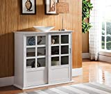 Kings Brand Furniture CU1440 Holmes White Wood Curio Cabinet with Glass Sliding Doors