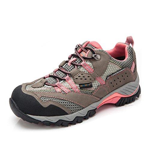 Clorts Women's Hiking Shoe Waterproof Suede Outdoor Backpacking Trekking Walking Shoe Rose HKL-829B US8.5