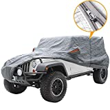 Big Ant Car Cover for Jeep Wrangler CJ,YJ, TJ & JK 4 Door All Weather Protection Waterproof SUV Cover Customer Fit for Jeep Wrangler with Driver Door Zipper up to 190' L,Gray
