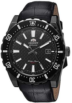 Orient Men's Nami Stainless Steel Japanese-Automatic Diving Watch with Leather Calfskin Strap, Black, 24 (Model: FAC09001B0)