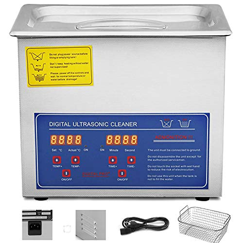 VEVOR Ultrasonic Cleaner 3L Commercial Ultrasonic Cleaner Total 220W for Cleaning Eyeglasses Rings Large Capacity Heated Ultrasonic Cleaner (3L,220W)