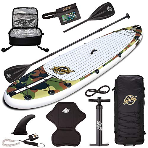 Gold Coast Surfboards Inflatable Paddle Board Package | 10'6 Aqua Discover ISUP | Custom Print Stand Up Paddle Board Package includes standard items