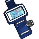 Egmy Hot! Waterproof Screen Protector, Armband Gym Running Sport For iPod Nano 7th Gen Sports Armband + Key Holder (Blue)