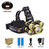 Headlamp, 8000 Lumens Rechageable Zoomable Headlight, Waterproof Flashlight for Working, Camping, Hiking, 2 4200 mAh Battery Included