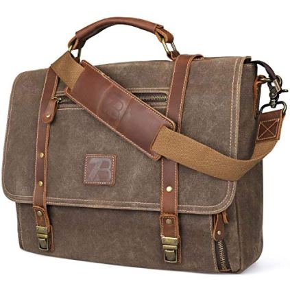 Manificent-Laptop-Messenger-bag-for-Mens-156-Inch-Waterproof-Vintage-Genuine-Leather-Mens-Briefcase-shoulder-bag-16-Storage-Pockets-Waxed-Canvas-Leather-Computer-Business-Satchel-Work-Bag-Brown