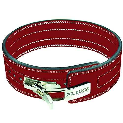 Flexz Fitness Leather Weight Lifting and Powerlifting Belt - Back Support Belt with Steel Quick Release Buckle