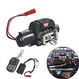 Leoie Automatic Winch Wireless Remote Controller Receiver for 1/10 RC Crawler Car Axial SCX10 TRAXXAS TRX4 D90 TF2 Tamiya CC01 Electric Winch Black + Remote Control
