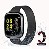 Prompt Fitness Tracker with Heart Rate Sleep Monitor for Women Waterproof Smart Watch for Android Phones Smartwatch Steel Activity Tracker with Color Screen Compatible for iOS Black