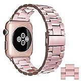 Simpeak Correa Compatible para Apple Watch 38mm 40mm, Correa Apple Watch 38mm 40mm de Acero Inoxidable Reemplazo de Banda para iWatch Todos los Modelos - Oro Rosa