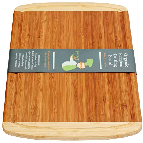Extra Large Organic Bamboo Cutting Board for Kitchen - LIFETIME REPLACEMENT BOARDS - 18 X 12.5 Inches