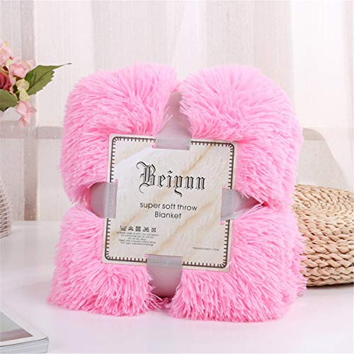 Sleepwish Girls Fluffy Pink Blanket - Decorative Sofa, Couch and Floor Throw - Warm, Cozy, Super Soft Bed or Car Cover - Long Shaggy Hair, Faux Fur, Microfiber Polyester Material - 51 x 63 Inches