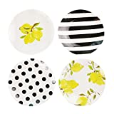 "Colias Wing 6"" Wave/Stripe/Lemon Pattern Design Melamine Plates Holiday Dessert Plates Christmas Dinner Plates(Set of 4)-Round"