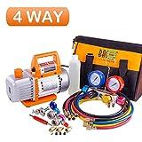 BACOENG Professional Vacuum Pump & Manifold Gauge Set - HVAC A/C Refrigeration Kit - Diagnostic R12 R22 R134a R410A - w/Case