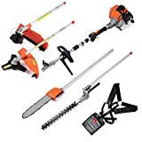 ARKSEN 4 in 1 Grass Trimmer 7ft Long Reach Multi Garden Trim Pole Saw Tree Weed Cutter Hedge Backyard w/Shoulder Harness