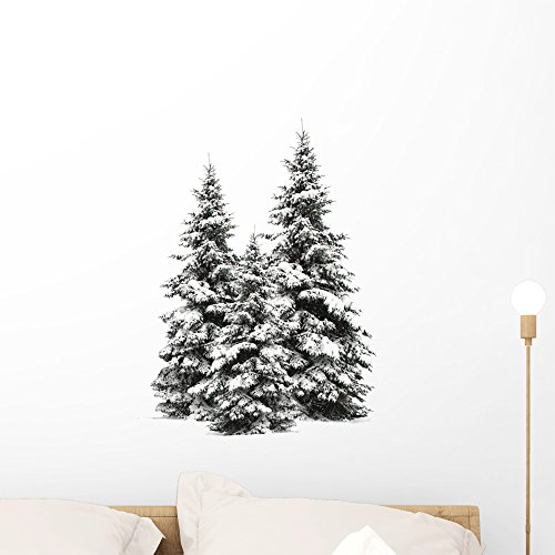 Wallmonkeys Pine Trees Wall Decal Peel and Stick Graphic WM37472 (24 in W x 22 in H)