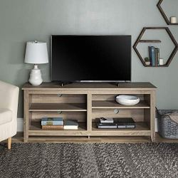 Walker Edison Wren Classic 4 Cubby TV Stand for TVs up to 65 Inches, 58 Inch, Driftwood