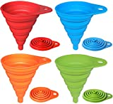 Hibery Kitchen Funnel, 4 Pcs Food Funnel Set, Flexible & Foldable Silicone Funnel for Water Bottle Liquid Powder Transfer