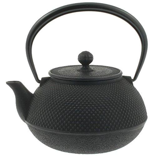 Iwachu Japanese kyusu cast Iron Tetsubin Teapot, Hobnail, 41 oz, Black