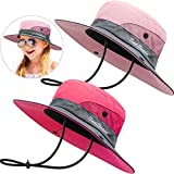 2 Pack Sun UV Protection Hat Mesh Wide Brim Sun Hat Outdoor Foldable Beach Hiking Fishing Summer Hat (Pink and Red, 52-54 cm)