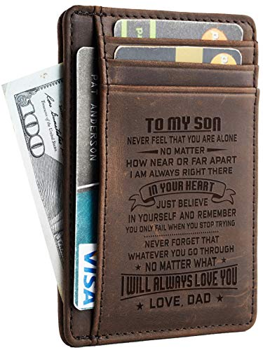 NapaWalli Wife To Husband Father Mother to Son Gift Best Anniversary Christmas Birthday Gifts Slim Wallet (Father to Son CH coffee)