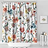 MACOFE Shower Curtain Flower Shower Curtain Art Print Polyester Fabric, Waterproof, Machine Washable,Hooks Included,Bathroom Decoration Original Design Hand Drawing,71x71inch (Flower Vine)