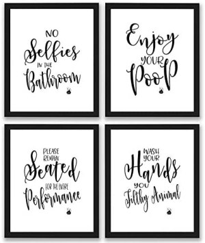 Bathroom Quotes and Sayings Art Prints | Set of Four Photos 8×10 Unframed | Great Gift for Bathroom Decor