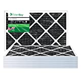 FilterBuy Allergen Odor Eliminator 20x25x1 MERV 8 Pleated AC Furnace Air Filter with Activated Carbon - Pack of 4 - 20x25x1