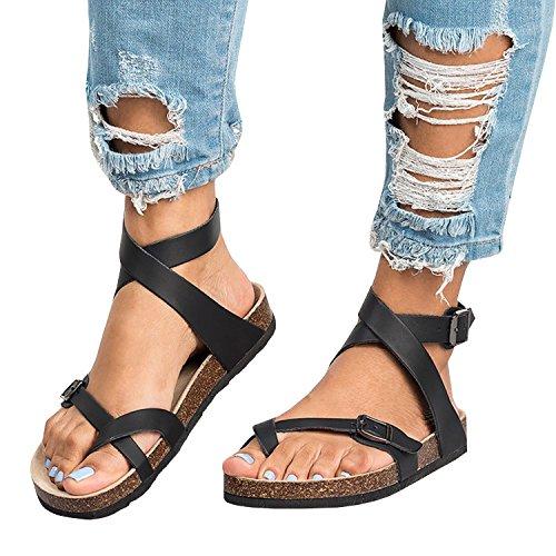 202ba567d Womens Flat Sandals Ankle Strap Buckle Flip Flop Gladiator Thong Summer  Shoes