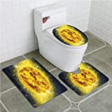 Bathroom Mat Sets 4 Piece-Non-slip - short plush Galaxy Panorama of Sun in Space with Luminous Effects Dynamic Center of Solar System Bathroom Rug + Contour pad + lid Toilet seat+Toilet seat cushion