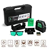 DLEADER Laser Level Cross Line Laser Mute Levelsure Green Beam line laser level, Magnetic Mount Base Carrying Pouch and Eye Protection Safety Glasses Included