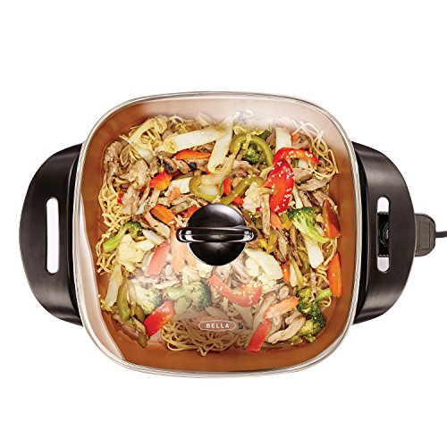 BELLA 14607 12 x 12 inch Electric Skillet with Copper Titanium Coating, 1200 Watts