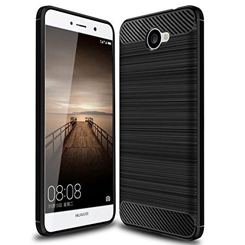 Huawei Ascend XT 2 Case, Huawei Elate 4G LTE Case, PUSHIMEI Soft TPU Brushed Anti-Fingerprint Full-Body Protective Phone Case Cover for Huawei Ascend XT2 H1711 (Black)