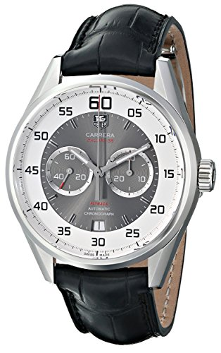 51znofOMGjL Stainless steel case with a black alligator leather strap Silver with grey center dial with silver-tone hands and index hour markers Swiss-automatic movement