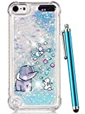 iPod Touch 6 Case,iPod Touch 5 Case Glitter,CAIYUNL Liquid Bling Sparkle Clear Cute TPU Kids Girls Protective Cover Shockproof for Apple iPod Touch 6th Generation/iPod Touch 5th (Blue Elephant)